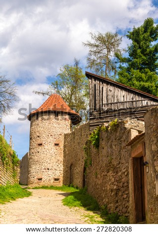 Town walls of Ribeauville - Alsace, France - stock photo