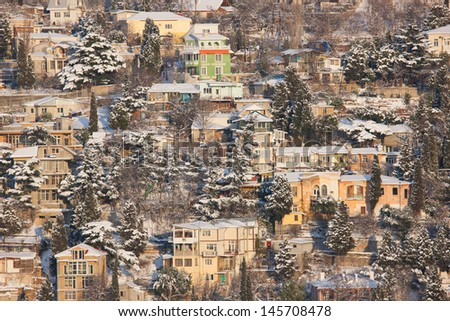Town winter landscape - stock photo