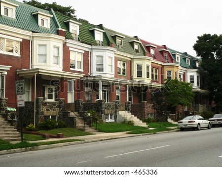 townhomes, typical of Baltimore, Maryland, USA - stock photo
