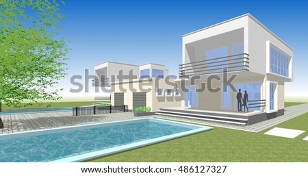 Townhouse, 3d illustration