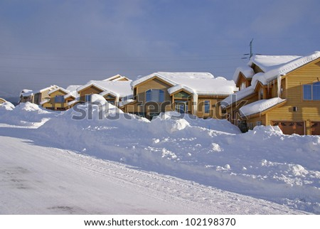 Townhouses after heavy snowstorm,Steamboat Springs,Colorado, Rocky Mountains - stock photo