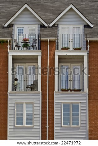Townhouses - identical buildings - stock photo