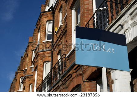 """Townhouses with """"To Let"""" sign and copy space.  at Kensington area(West-London). - stock photo"""