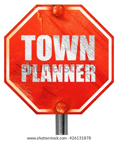 townplanner, 3D rendering, a red stop sign - stock photo
