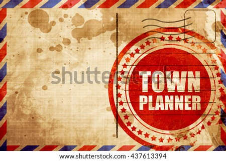 townplanner, red grunge stamp on an airmail background - stock photo