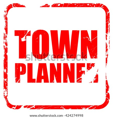townplanner, red rubber stamp with grunge edges - stock photo