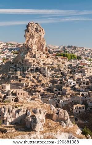 Township and dwellings in Cappadocia, Turkey.
