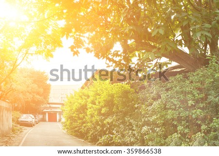 Township scenery with green trees and buildings with red door in morning in Taiwan, Asia. - stock photo
