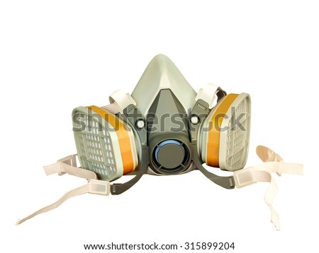 Toxic dust respirator isolated on white background.  - stock photo