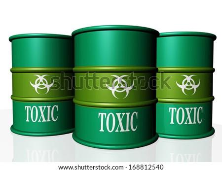 toxic green barrels  - stock photo