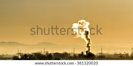 toxic pollution being put into the air we breath - stock photo