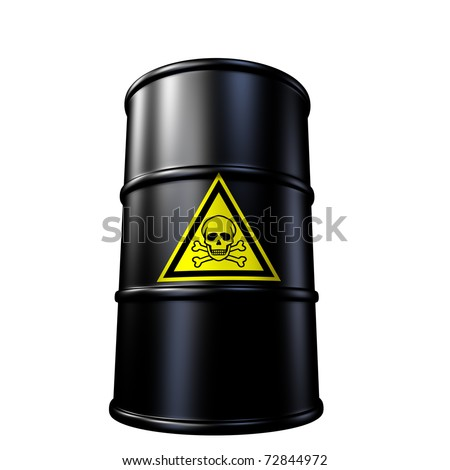 Toxic waste barrel symbol represented by a black metal oil and chemical  drum. - stock photo