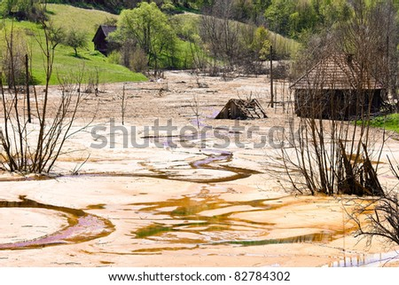 Toxic waste from mining  exploitation - stock photo