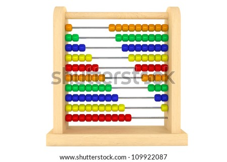 Toy abacus with rainbow colored beads on a white background