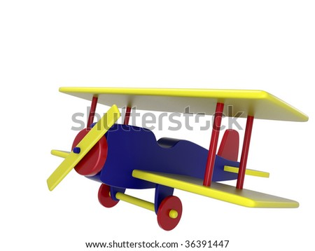 Toy airplane, 3D rendering - stock photo