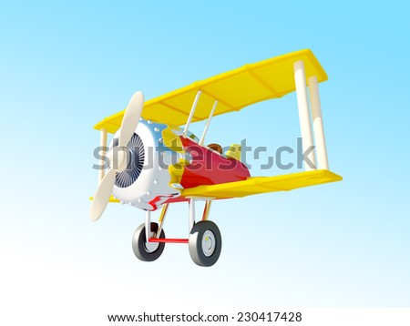 Toy airplane fly in the sky. Cartoon style - stock photo