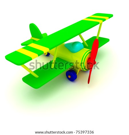 Toy airplane isolated - stock photo