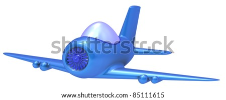 Toy airplane. Isolated on a white background. - stock photo