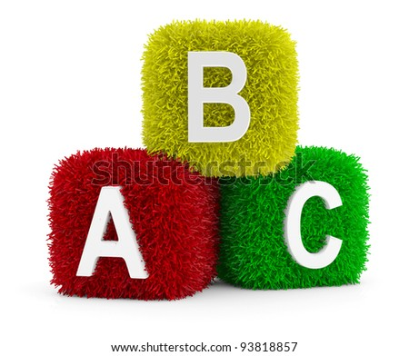 Toy Baby Blocks with symbols heap of alphabet. Icon 3D. Education concept. 3D model - stock photo