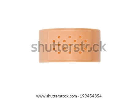 Toy bandaid or plaster isolated on white. Clipping path included. - stock photo