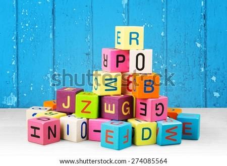 Toy, block, alphabet. - stock photo
