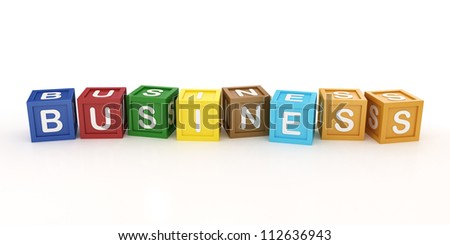 Toy Block with Business Word on White Background