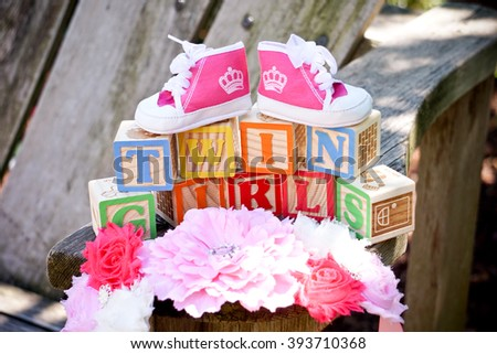 toy blocks for twin baby girls - stock photo