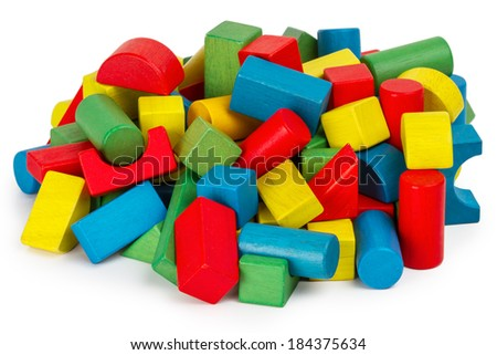 Toy blocks, multicolor wooden building bricks, heap of colorful game pieces  - stock photo