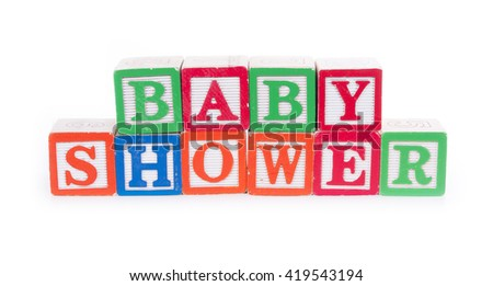 "Toy blocks spelling out ""BABY SHOWER"""