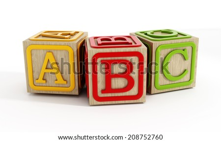 Toy blocks with letters A, B and C isolated on white - stock photo