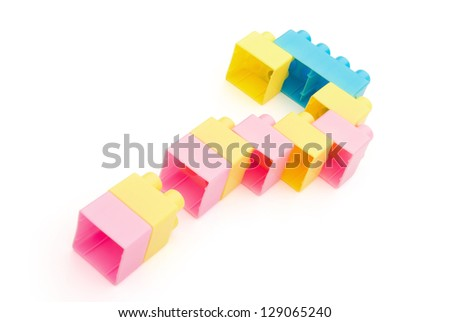 toy bricks shaped like a question mark with clipping path