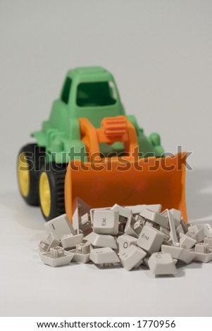 toy bulldozer loading keys - stock photo