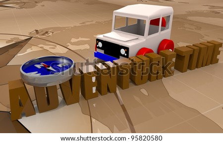 Toy car for adventure time playing with a compass and world map - stock photo