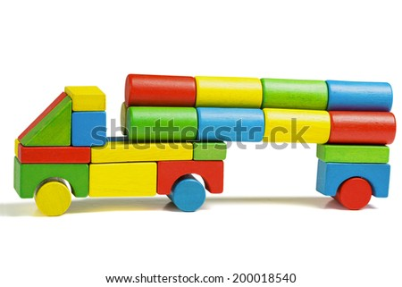 toy car, multicolor truck wooden blocks transportation, cargo delivery, isolated white background - stock photo
