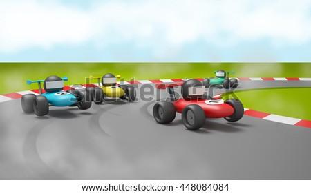 toy car race 3D illustration - stock photo