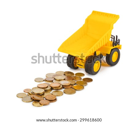 Toy car truck and money coins isolated on white background - stock photo