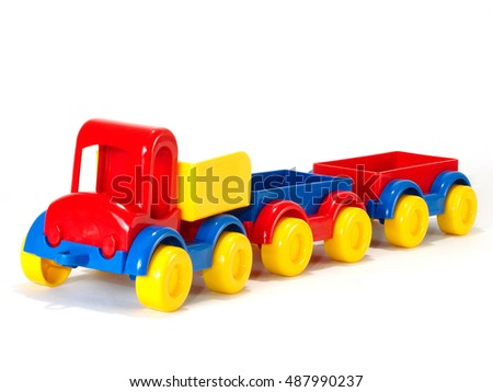 Toy car truck and trailer isolated on white background