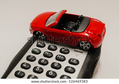 Toy car with calculator