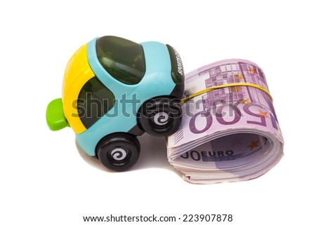 Toy car with  euro money