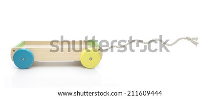 Toy carriage with funny rope motion - stock photo