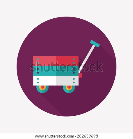 toy cart flat icon with long shadow