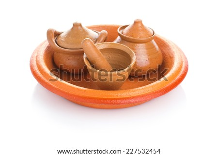 Toy clay pot pottery and kitchenware souvenir handmade for child - stock photo