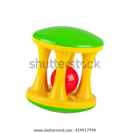 Toy colorful baby rattle isolated on a white background