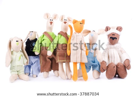 Toy company - many toys in a group isolated - stock photo