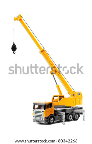 toy crane isolated over white backgroung - stock photo