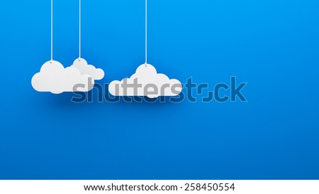 Toy 3d clouds hanging isolated background wallpaper - stock photo