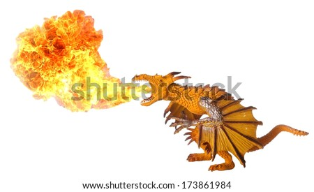 Toy dragon breathing out huge hot flame - stock photo