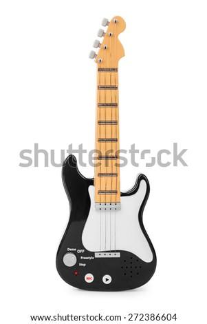 Toy electric guitar isolated on white background - stock photo