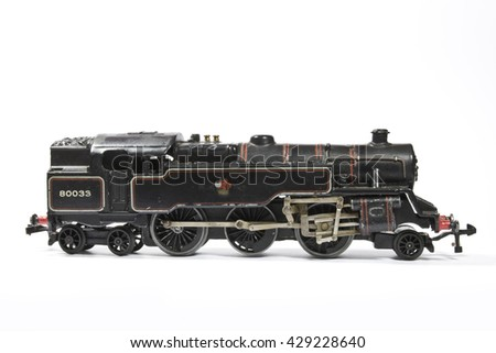 Toy Electric Model Train on White Background - stock photo