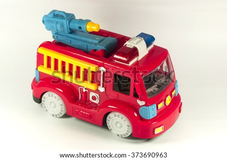 Toy fire truck on a white background